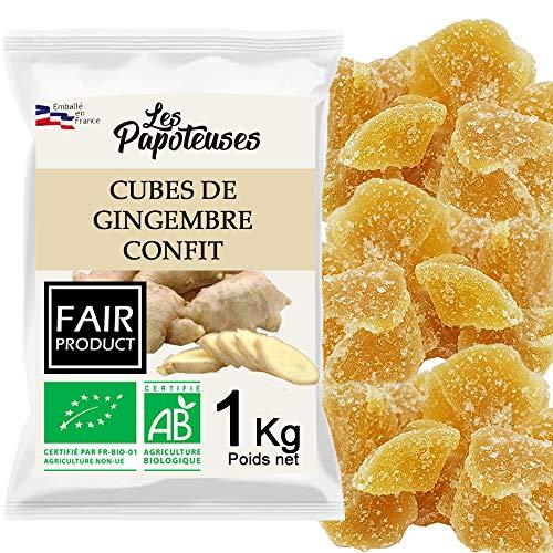 Les Papoteuses | Bio kandierter Ingwer in Würfeln 1 kg | Bio-zertifiziert | Fairer Handel | 100% natürlich | Hochwertige kandierte Früchte | Ohne Konservierungsmittel