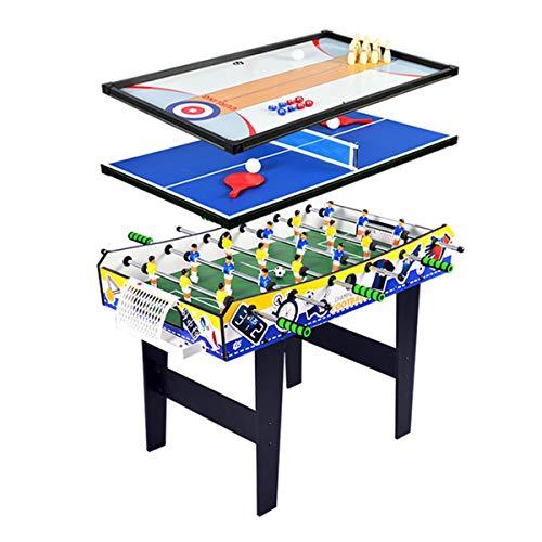 4-In-1 Multifunctionele Speeltafel - Huishoudelijke Combo-Speeltafel Voor Kinderen, Inclusief Tafelvoetbal, Bowling, Sjoelen En Tafeltennis, Perfecte Familiespelset