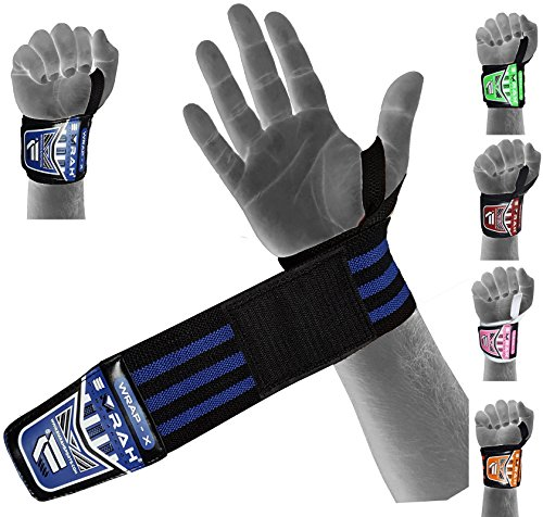 EMRAH Heavy Duty Wrist Wraps (Pair) ''Limited Deal''- Wrist Support Braces for Men & Women - Weight Lifting, Crossfit, Powerlifting, Strength Training (Blue)