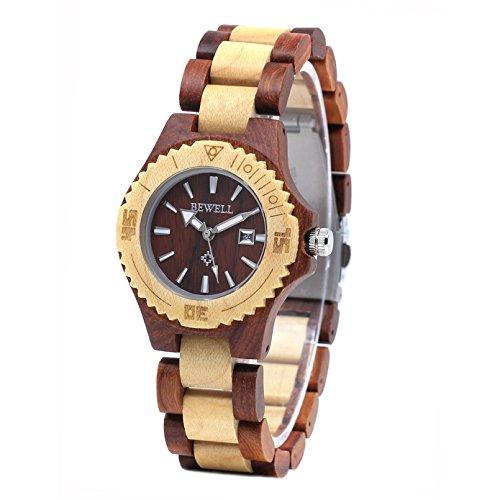 Bewell Legno di sandalo Watch donne piccolo quadrante in legno braccialetto semplice Casual orologio da polso per Ladies Lightweight e luce notturna W020AL (Legno rosso di sandalo e legno di acero)