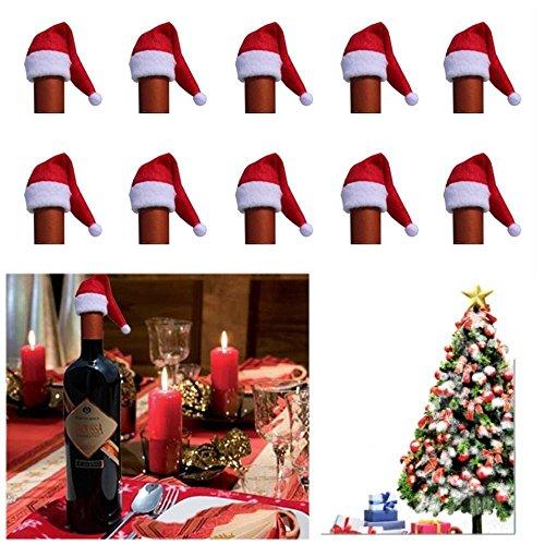 SSITG 12x mini-kerstmutsen hoeden wijnfles kerstmis dinerparty tafeldecoratie