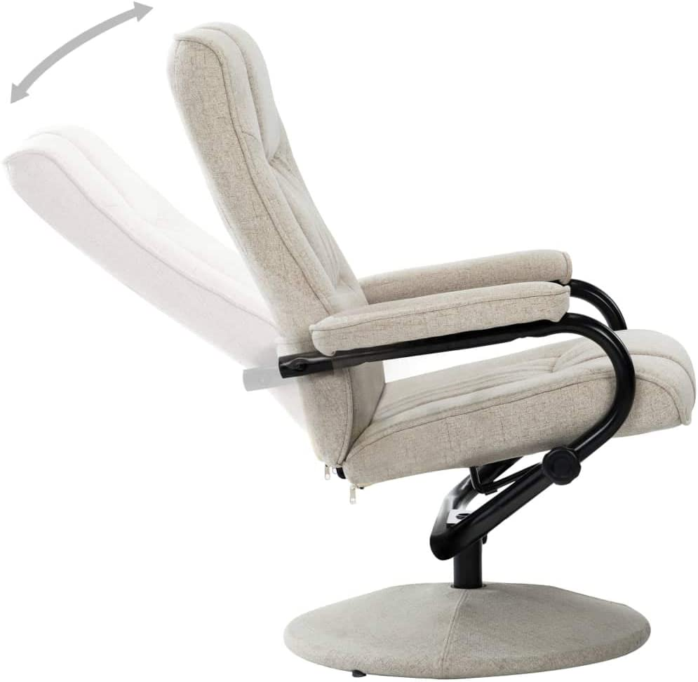 vidaXL Fauteuil Inclinable avec Repose-Pied Chaise Inclinable de Salon Fauteuil de Bureau Fauteuil Inclinable de Salon Chambre à Coucher Marron Tissu Crème
