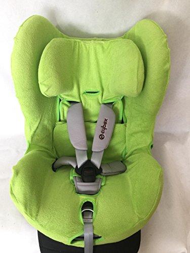 Sommerbezug Schonbezug für Cybex Sirona und Sirona plus Frottee 100% Baumwolle grün + Bezug für den Fangkörper
