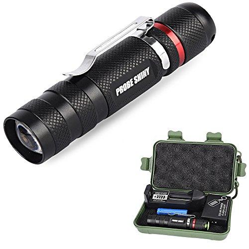 LED Zoomable Taschenlampe, Ulanda-EU 1000 LM CREE LED Einstellbare Fokus Mini Taktische Taschenlampe Ultra Bright 3 Modi Kleine Taschenlampe mit 14500 Akku, Ladegerät und Schlüsselanhänger