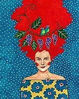 キャンバス上の番号キットによる大人のペイント漫画の女の子の花の肖像画40x50cmキャンバス上の初心者のための番号キットによるDIY大人のペイント