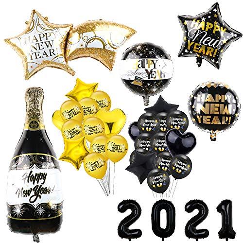 ABRC 2021 Feliz Año Nuevo Globos Foil para Case la Navidad la decoración del Partido 18 Pulgadas Negro Botella Helio Globos de cumpleaños Eve Suministros