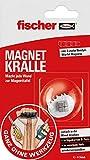 fischer MAGNET CRALLE, fijación rápida sin taladrar, con imán extra fuerte (neodimio), reutilizable, para fijar carteles, imágenes, mapas, etc., color gris