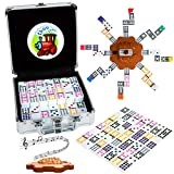 Tocebe Dominoes Set with Sound Effects, Mexican Train Dominoes for Travel, 91 Tiles Mexican Train with Aluminum Case for Kids and Families