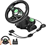 Racing Simulator Steering Wheels with 2 Pedals Vibration Feedback, 26cm Diameter Slewing Ring Non-Slip Handle, 180 ° Rotation Angle, Suitable for Xbox 360, PS2 PS3 / PC