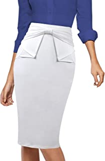 VFSHOW Womens Pleated Bow High Waist Slim Work Office Business Pencil Skirt