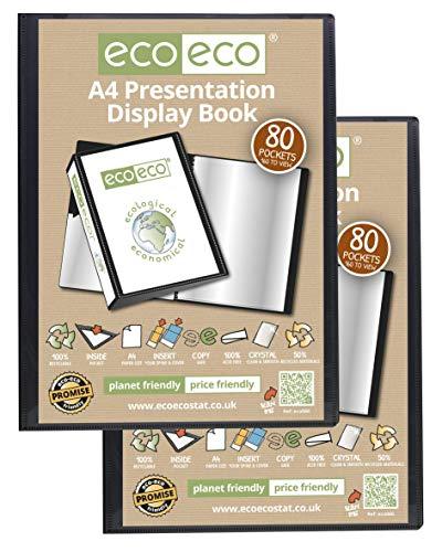 eco-eco A4 Size 50% Recycled 80 Pocket Black Presentation Display Book, Storage Case Portfolio Art Folder with Plastic Sleeves, (Pack of 2 ), eco066x2