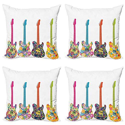ABAKUHAUS Partido Estrella del Pop Set de 4 Fundas para Cojín, Flores Coloridas de la Estrella, Estampado Digital en Ambos Lados y Cremallera, 45 cm x 45 cm, Multicolor