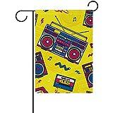 Not Applicable Bandera de Temporada, Retro Pop Boombox Radio 80S Garden Flag Yard Flag Banner Super Mini Garden Flag 32x45.7cm