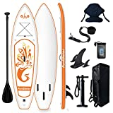 Tuxedo Sailor Stand Up Paddle Board Ultraligera (17 lbs) con Paddle Ajustable, Mochila Sup, Bomba, Bolsa de Teléfono, Asiento del Kayak,Correa para Todos los Niveles de Surf