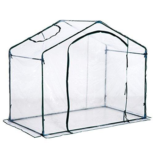 Outsuuny Walk In PVC Greenhouse Garden Outdoor Flower Planter Steel Frame w/Zipped Door & Window 180 x 105 x 150CM White