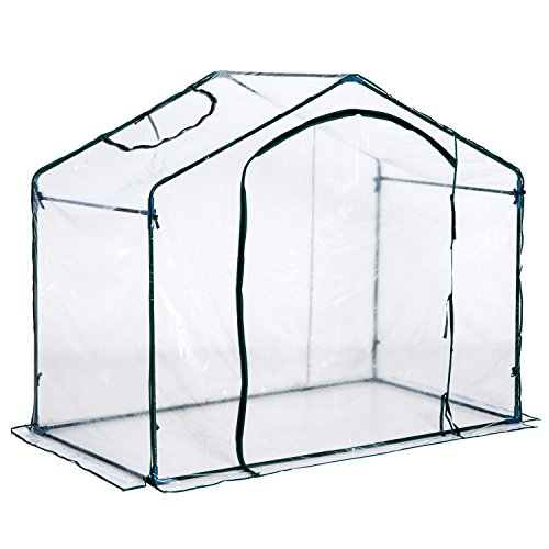 Outsunny Foliengewächshaus Gewächshaus Treibhaus Tomatenhaus mit Fenster, Stahl+PVC, 180x105x165cm