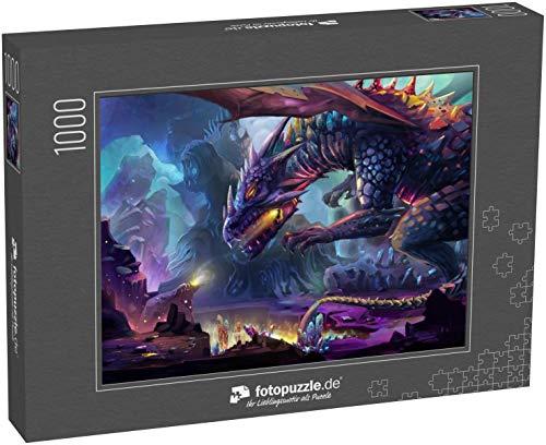 fotopuzzle.de Puzzle 1000 Teile Illustration: Der Drachenplanet - Der gefährliche Drache trinkt die Energie