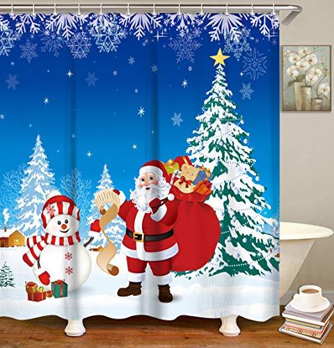 LIVILAN Duschvorhang mit 12 Haken, Weihnachtsmann, Schneemann & Schneeflocken, blauer Stoff, Badvorhang, Silvester, Badezimmer, Dekoration, maschinenwaschbar, 183 x 183 cm