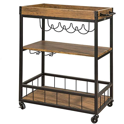 MyGift Farmhouse Style 6-Bottle Galvanized Finish Metal Wine Bottle Holder Carrier Caddy with Wooden Handle