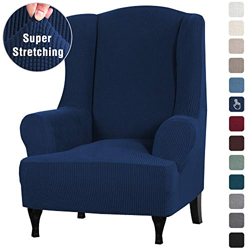 拉伸翼展椅盖翼椅Slipcover翼椅盖家具封面为翼卫椅,家具罩特色柔软厚的小型检查提花织物可清洗,海军