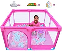 H.aetn Playpens Playard Portable Baby with Balls and Crawling Mat, Indoor Outdoor Toddler Children Activity Center Non-slip, Pink