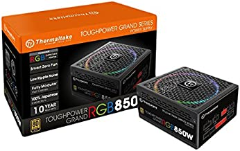 Thermaltake Toughpower Grand RGB 850W 80+ Gold Smart Zero 256-Color RGB Fan Fully Modular Power Supply 10 Yr Warranty PS-T...