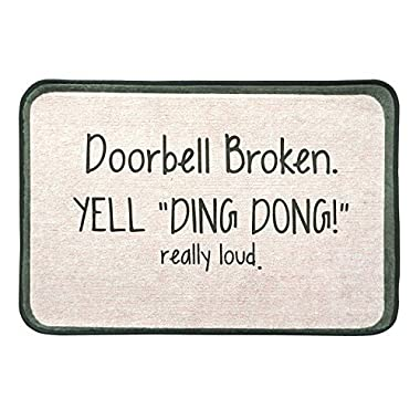 Burning Love Short Plush Doorbell Broken Yell Ding Dong Really Loud Printed Doormat, Non-slip Doormat, Size40X60CM.