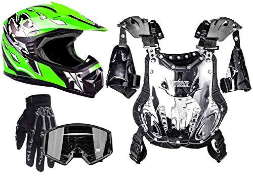 Typhoon Kids Pee Wee Offroad Gear Combo Helmet Gloves Goggles Chest Protector Motocross ATV Dirt Bike Black Green - Small