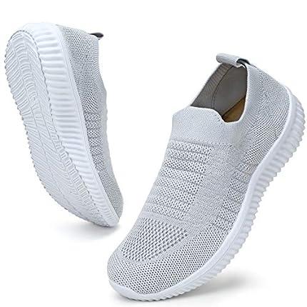 ZHR Zapatillas de tenis de malla transpirable para mujer, color Gris, talla 38 EU