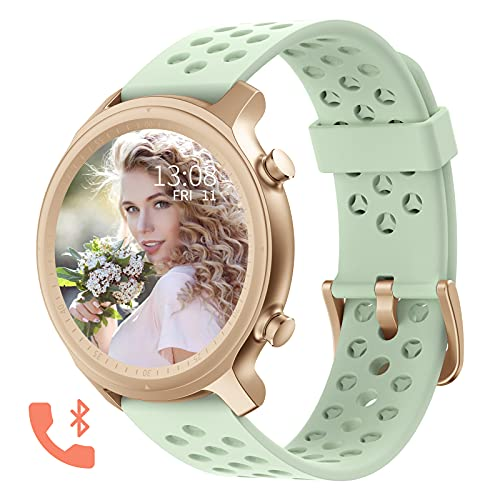 Bluetooth Call Smartwatch for Women Fitness Tracker Watch with Heart Rate and Sleep Monitor IP67 Waterproof Activity Tracker Pedometer Watches Compatible with iPhone Android Phones (Light Green)