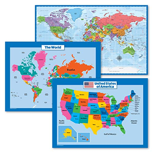 3 Pack - USA & World Map for Kids + Blue Ocean World Map Poster Set (Laminated, 18' x 24')
