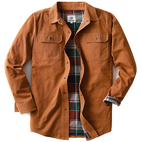 Men's Heavyweight Canvas Flannel Lined Shirt Jacket, Timber Brown X-Large