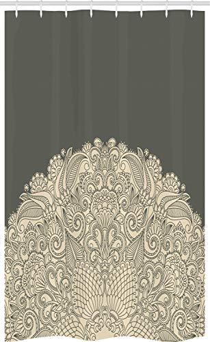ABAKUHAUS Orientale Tenda da Doccia Stalla, Mezza Mandala Floreale, Set per Il Bagno in Tessuto con Ganci, 120 x 180 cm, Beige E Dark Taupe