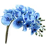U'Artlines 38 Inch Artificial Phalaenopsis Flowers Branches Silk Orchids Flowers for Home Office Wedding Decoration,Pack of 4 (4pcs Blue)