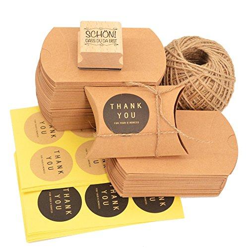 Okaytec 100 Kraftpapier Schachtel Papier Schachteln klein Gastgeschenke Hochzeit mit Juteschnur 60M und Schön DASS Du da bist Stempel und 102 STK Aufkleber für Süßigkeiten Schmuck DIY