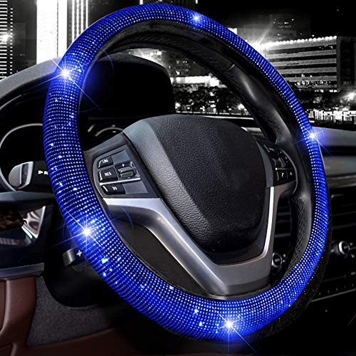 Valleycomfy Steering Wheel Cover for Women Bling Bling Crystal...
