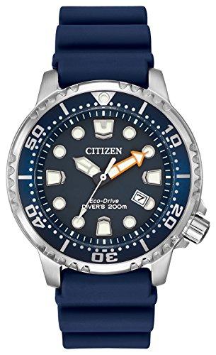 Citizen Herren Armbanduhr Divers Eco Drive mit Blau Zifferblatt Analog Display und Blau PU Strap bn0151–09L