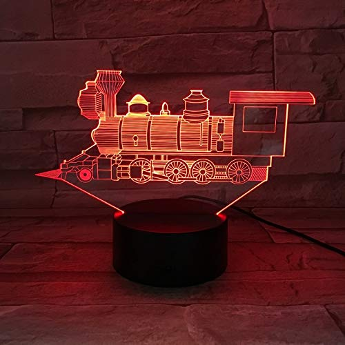 Colorful Three-Dimensional 3D Table lamp LED steam Train Locomotive Multi-Color Fading Children Friends | Halloween Gift Colorful Night Light Multi-Color
