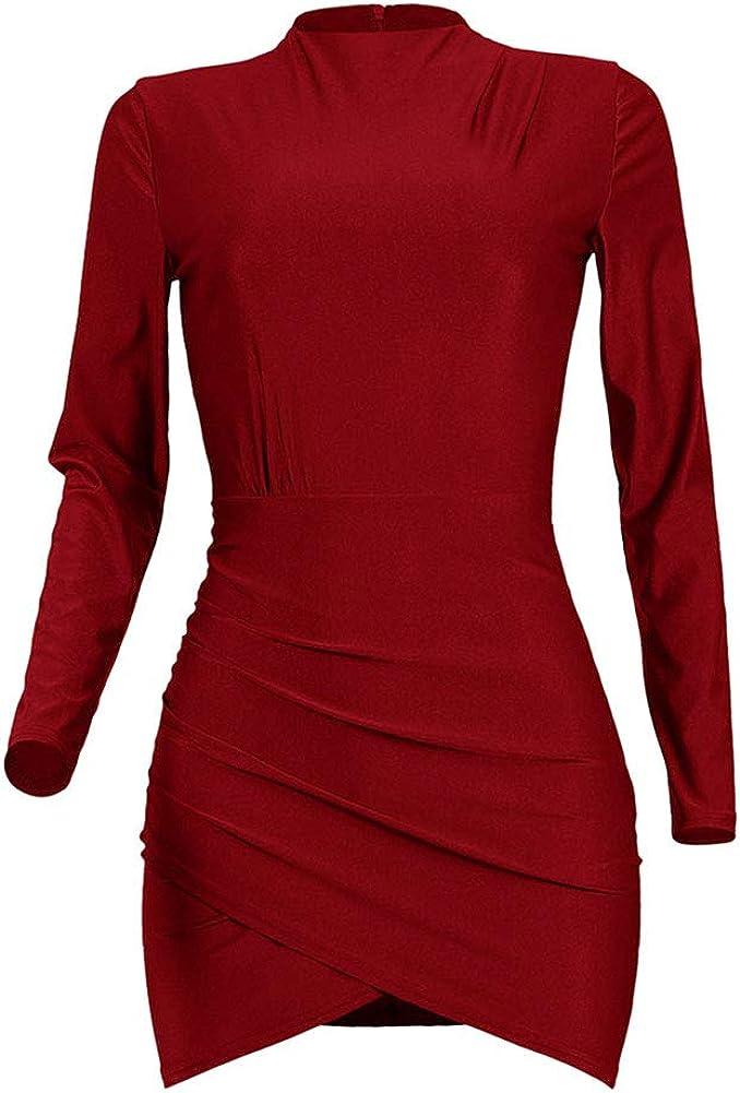 diffstyle Women Long Sleeve Turtleneck Bodycon Skinny Dress Party Club Dress Irregular Wrapped Hem Mini Dress