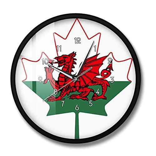 Flagge von Wales Wanduhr Welsh Red Dragon On White Green Maple Leaf Y Ddraig Goch UK Vereinigtes Königreich Großbritannien Clock Watch-Metal_Frame