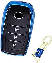 Royalfox(TM) 3 4 5 6 Buttons Soft TPU Smart keyless Remote Key Fob case Cover Shell for Toyota Holder Highlander Avalon Crown Land Cruiser Prado Mark X Camry Corolla Reiz RAV4 (Blue)