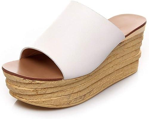HommesGLTX Talon Aiguille Talons Hauts Sandales Sandales Nouveau Véritable Chaussures en Cuir Chaussures à Talons Hauts Pantoufles Femmes 2019 Plate-Forme D'été Diapositives Femmes Coins Chaussures Femme  pas cher