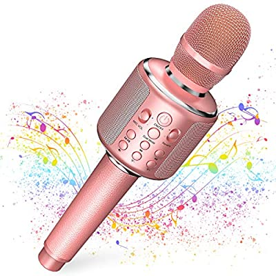Wireless Bluetooth Karaoke Microphone,3-In-1 Leather Portable Handheld Singing Machine Speaker Mic for Adults Teens Girls Kids Party Birthday Gift Toys for iPhone/PC,Support Duet(Pink)