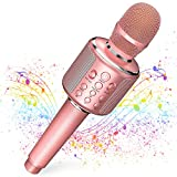 Best Karaoke Microphones - Wireless Bluetooth Karaoke Microphone,4-In-1 Leather Portable Handheld Singing Review