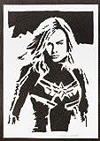 Poster Capitana Marvel Grafiti Hecho a Mano - Handmade Street Art - Artwork...