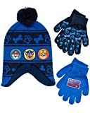 Nickelodeon Boys Paw Patrol Winter Hat with 2 Pair Gloves or Mittens (Toddler/Little Boys)