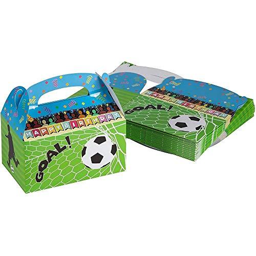 Blue Panda Scatole per Feste di Carta, scatole Regalo di Design di Calcio per Compleanni ed Eventi, 2 dozzine di scatole per Feste Confezione da 24 (15,2 x 8,4 x 9,1 cm) Multicolore