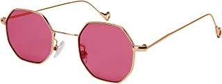 Edge I-Wear Retro Chic Octagon Shaped Metal Sunglasses with Flat Lens E112