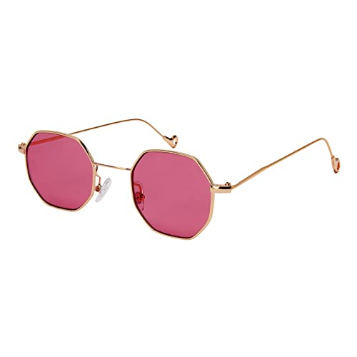 0360ac8214 Edge I-Wear Retro Chic Octagon Shaped Metal Sunglasses w Flat Lens M5112-