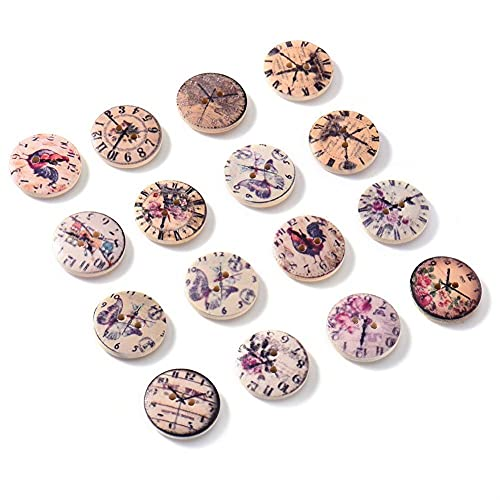 Huixindd 50 Piezas 2 Agujeros Botones de Madera artesanía de Scrapbook de Costura Accesorios de Ropa de...